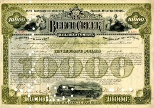 Beech Creek Railroad Company issued to Henry Astor of West Copake, N.Y. - $10,000 - Bond - SOLD