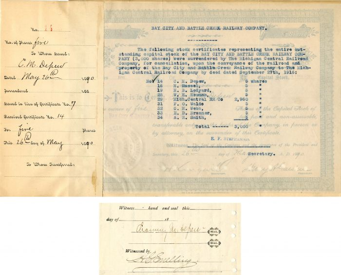 Bay City and Battle Creek Railway Company signed by Chauncey M. Depew - Stock Certificate