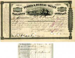 Peoria & Bureau Valley Railroad Company Issued to and signed by C.W. Durant - Stock Certificate