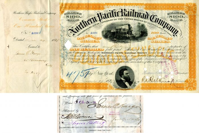 Northern Pacific Railroad Company signed by James C. Fargo - Stock Certificate