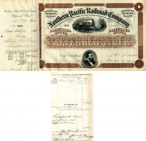 Northern Pacific Railroad Company signed by Wm. G. Fargo - Stock Certificate