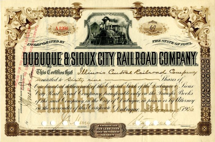 Dubuque & Sioux City Railroad Company signed by Stuyvesant Fish - Stock Certificate