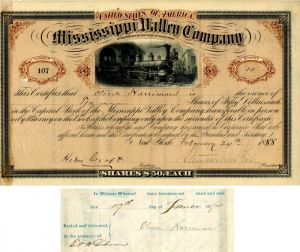 Mississippi Valley Company signed by Stuyvesant Fish - Stock Certificate