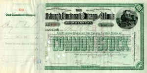 Pittsburgh, Cincinnati, Chicago and St. Louis Railway Company Issued to Henry C. Frick - Stock Certificate