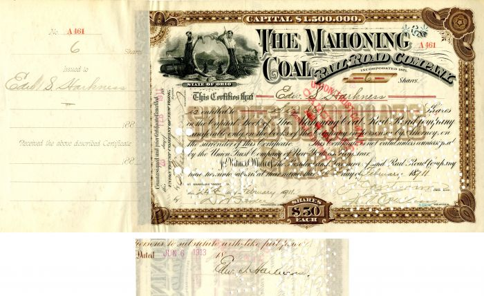 Mahoning Coal Railroad Company signed by Edward S. Harkness - Stock Certificate