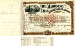 Mahoning Coal Railroad Company signed by Edw. S. Harkness - Stock Certificate