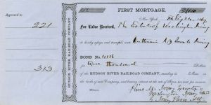 Hudson River Railroad Company Issued to Estate of Washington Irving - Stock Certificate