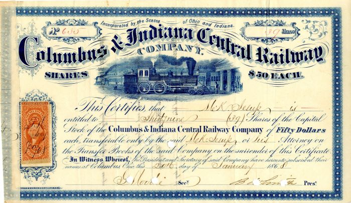 Columbus & Indiana Central Railway Company Issued to M.K. Jesup - Stock Certificate
