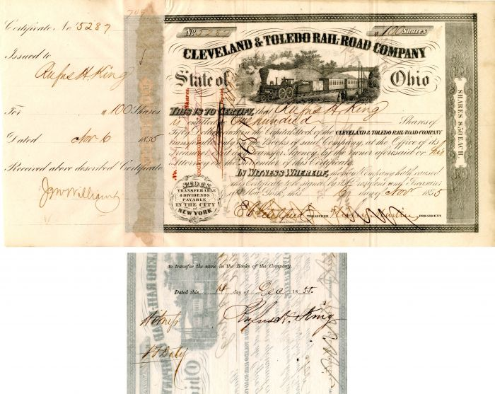 Cleveland and Toledo Rail-Road Company signed by Rufus H. King - Stock Certificate