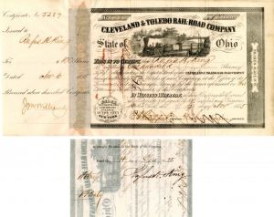 Cleveland & Toledo Rail-Road Company signed by Rufus H. King - Stock Certificate