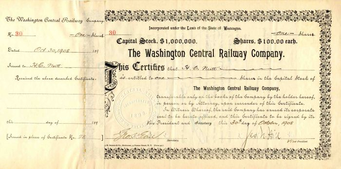 Washington Central Railway Company Signed by James N. Hill and Geo. H. Earl - Stock Certificate