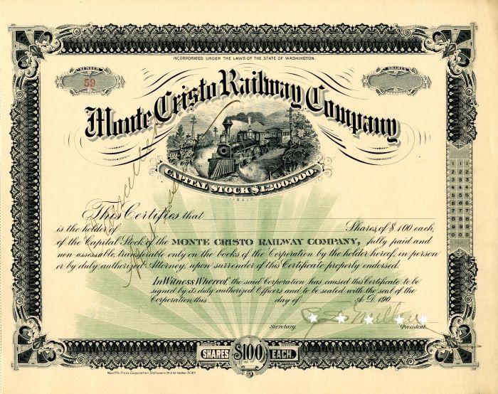 Monte Cristo Railway Company signed by C.S. Mellen - Stock Certificate