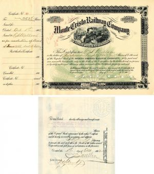 Monte Cristo Railway Company signed by C.S. Mellen - Stock Certificate