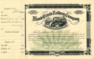 Monte Cristo Railway Company signed by C.S. Mellen and Geo. H. Earle - Stock Certificate - SOLD