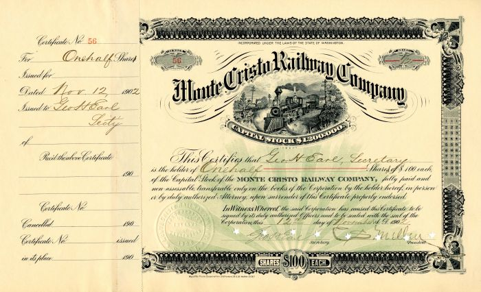 Monte Cristo Railway Company signed by C.S. Mellen and issued to and signed by Geo. H. Earl - Stock Certificate