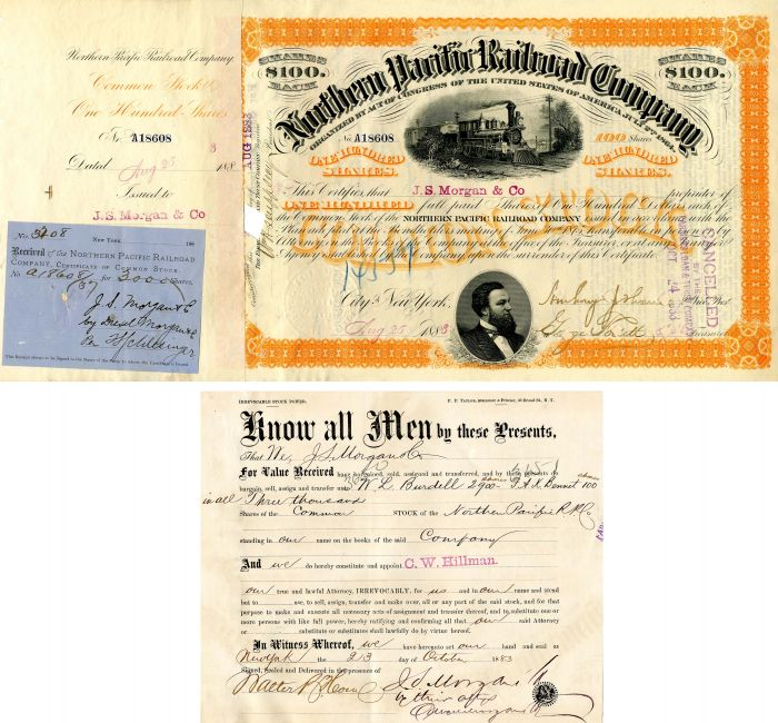 29 Northern Pacific Railroad Company Stocks Issued to J.S. Morgan and Co. - Stock Certificate