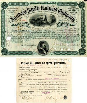 Northern Pacific Railroad Company signed by J.P. Morgan Jr. - Stock Certificate - SOLD