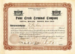 Paint Creek Terminal Company signed by Charles and Harold I. Pratt - Stock Certificate