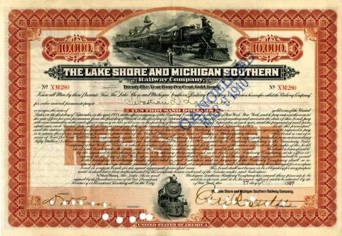 Lake Shore and Michigan Southern Railway Company signed by E.V.W. Rossiter - $10,000 - Bond