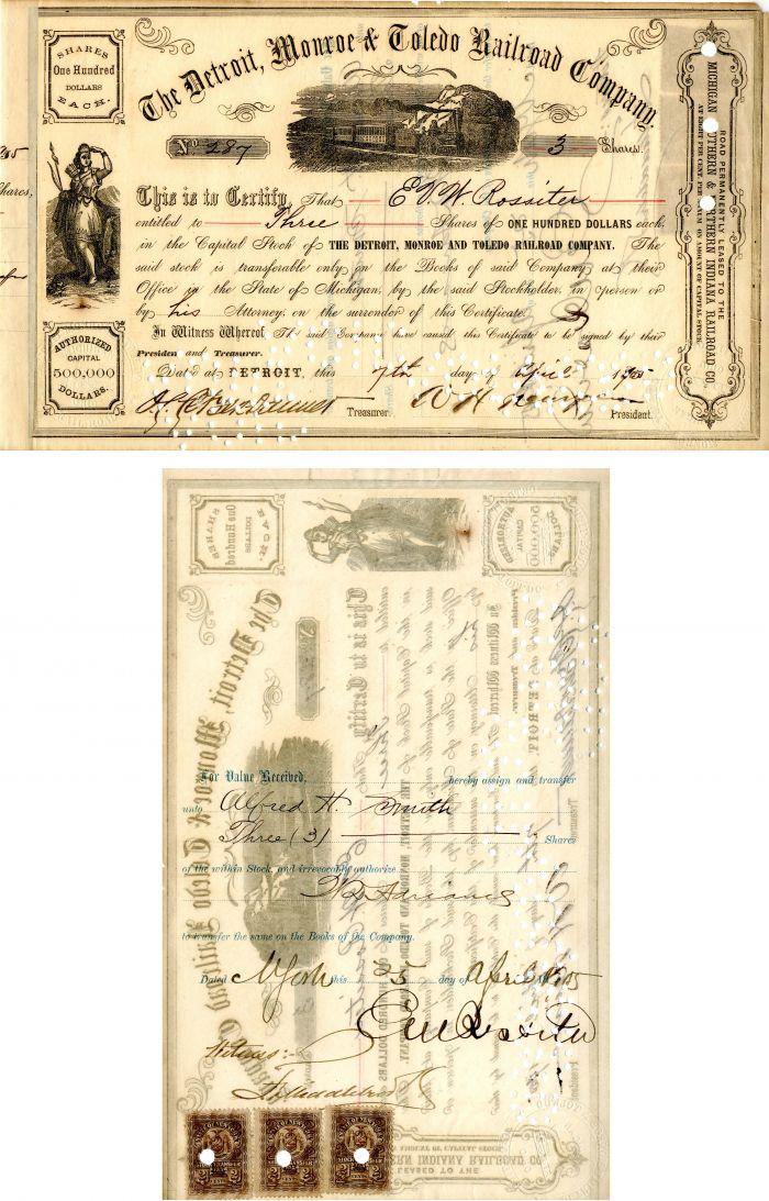 Detroit, Monroe & Toledo Railroad Company signed by E.V.W. Rossiter - Stock Certificate