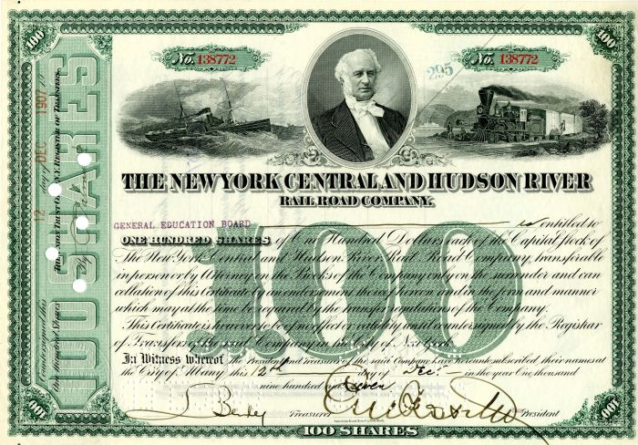 New York Central and Hudson River Railroad Company signed by E.V.W. Rossiter - Stock Certificate