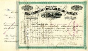 Mahoning Coal Railroad Company Issued to Estate of Augustus Schell - Stock Certificate
