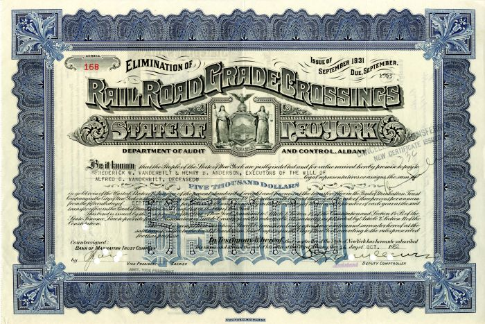Elimination of Railroad Grade Crossings Issued to the Will of Alfred G. Vanderbilt - $5,000 - Bond