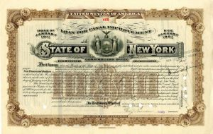 Loan for Canal Improvement State of New York Issued to the will of Alfred G. Vanderbilt - $10,000 - Bond