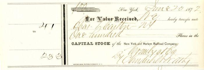 New York and Harlem Railroad Company signed by Cornelius Vanderbilt II - Stock Certificate