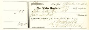 New York and Harlem Railroad Company signed by Cornelius Vanderbilt II - Stock Certificate
