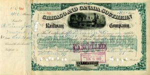 Chicago and Canada Southern Railway Company signed by Cornelius Vanderbilt II - Stock Certificate