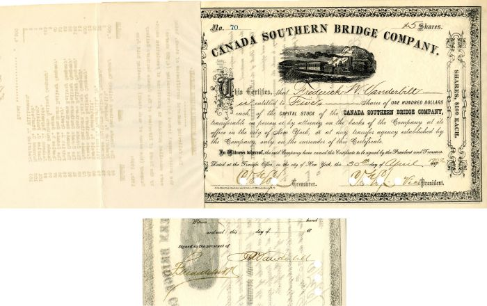 Canada Southern Bridge Company Issued to and Signed by Frederick W. Vanderbilt - Stock Certificate