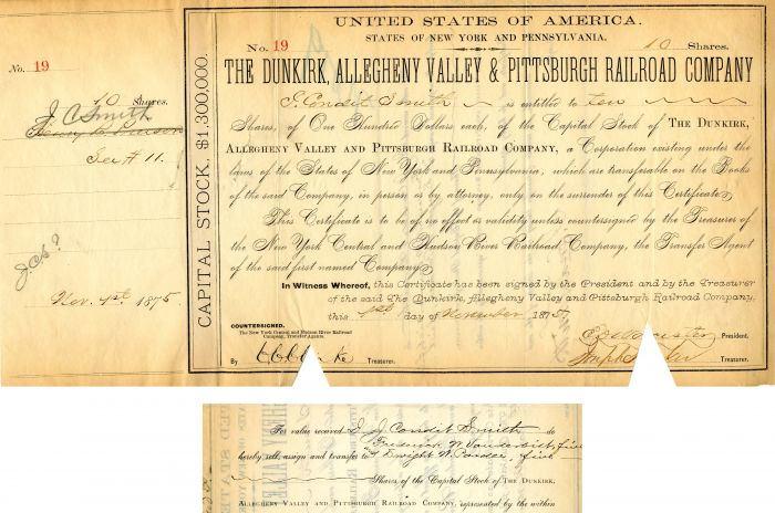 Dunkirk, Allegheny Valley and Pittsburgh Railroad Company transferred to Frederick W. Vanderbilt - Stock Certificate - SOLD