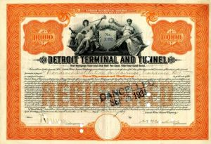 Detroit Terminal and Tunnel - $10,000 signed by Wm. K. Vanderbilt - Bond - SOLD