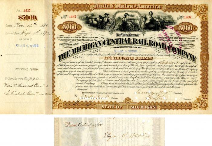 Michigan Central Railroad Company signed by Eliza O. Webb - $5,000 - Bond