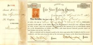 Lake Shore Railway Company signed by J.H. Devereux - Stock Certificate
