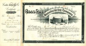 Cedar Falls Manufacturing Company signed by John M. Worth - Stock Certificate