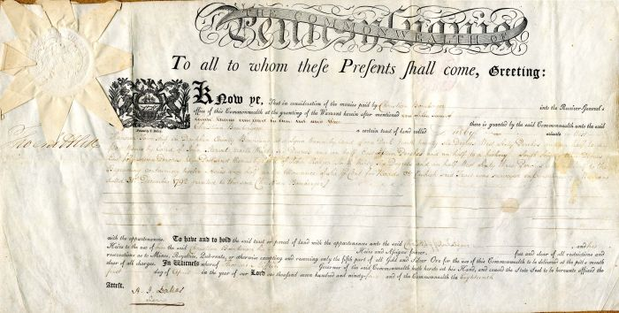 Land Grant signed by Thomas Mifflin - SOLD