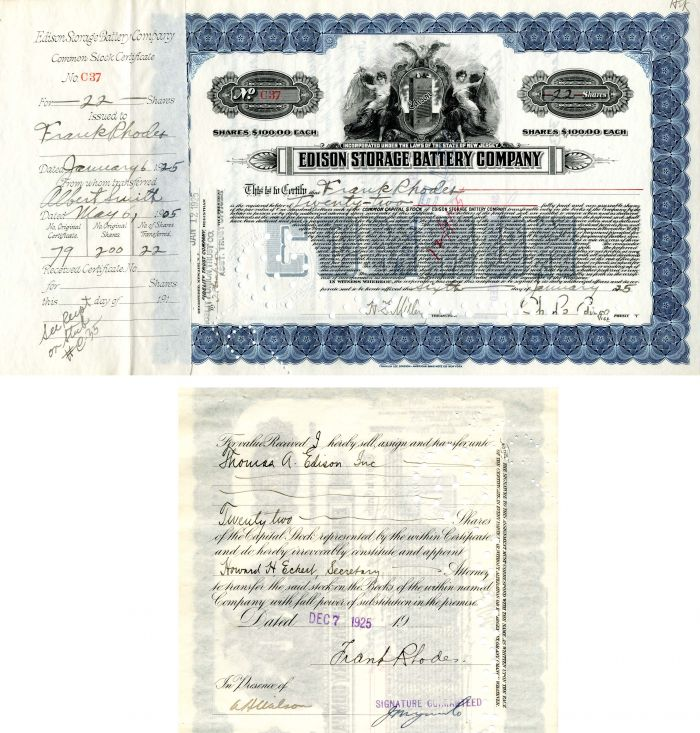 Edison Storage Battery Company signed by Charles Edison - Stock Certificate - SOLD