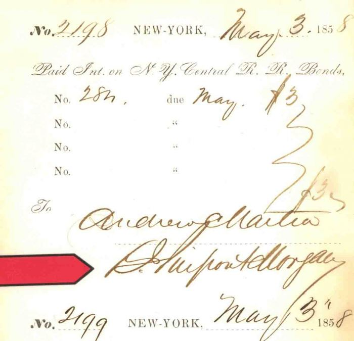 N.Y. Central R.R. Bonds ledger sheet signed by J. Pierpont Morgan - Very Early Signature