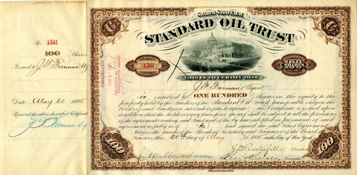 Standard Oil Trust issued to J.F. Freeman and signed by J.D. Rockefeller and  J.D. Archbold