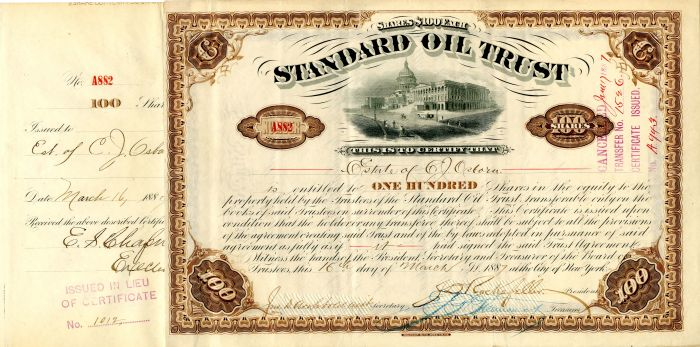 Standard Oil Trust signed by J.D. Rockefeller and  John D. Archbold - Stock Certificate