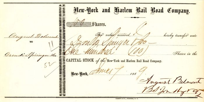 New-York and Harlem Rail Road Company signed by August Belmont - Stock Certificate