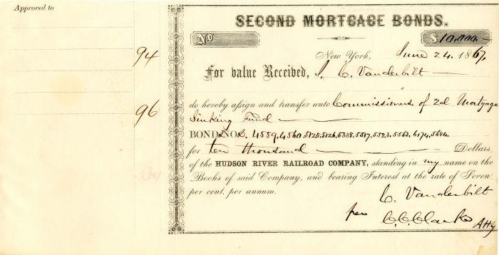 Hudson River Railroad Company issued to Commodore Cornelius Vanderbilt - Bond