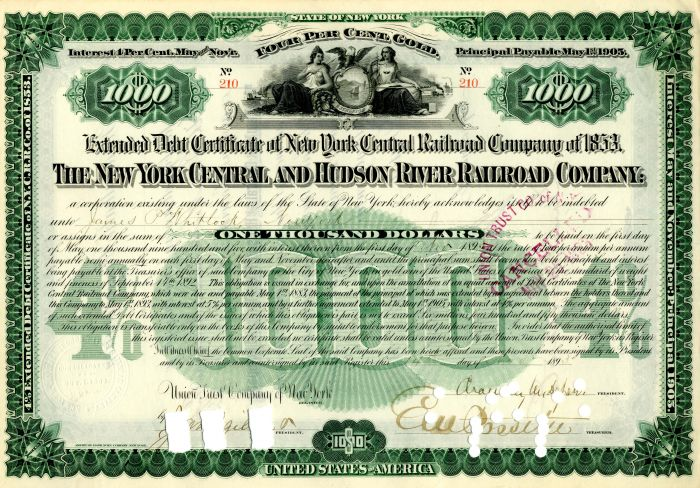 New York Central and Hudson River Railroad Company signed by Chauncey M. Depew - $1,000 - Bond