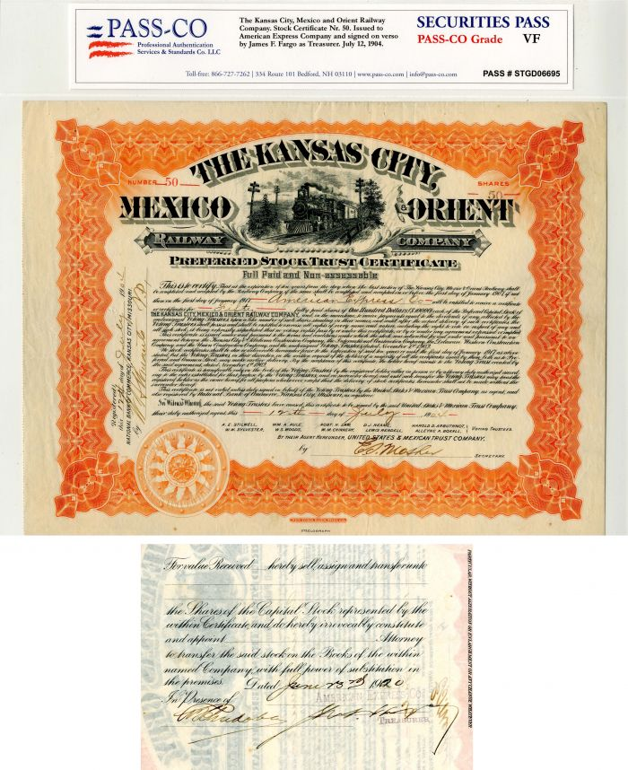 Kansas City, Mexico and Orient Railway Company signed by James F. Fargo - Stock Certificate