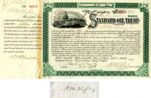 Standard Oil Trust issued to and signed by H.M. Flagler - Stock Certificate