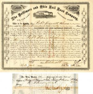 Baltimore and Ohio Rail Road Company signed by J.W. Garrett and Robt. Garrett - Stock Certificate - SOLD
