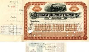 Northwest Equipment Company of Minnesota issued to and signed by C.W. Harkness - Stock Certificate