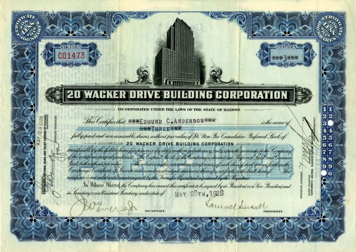 20 Wacker Drive Building Corporation signed by Samuel Insull - Stock Certificate